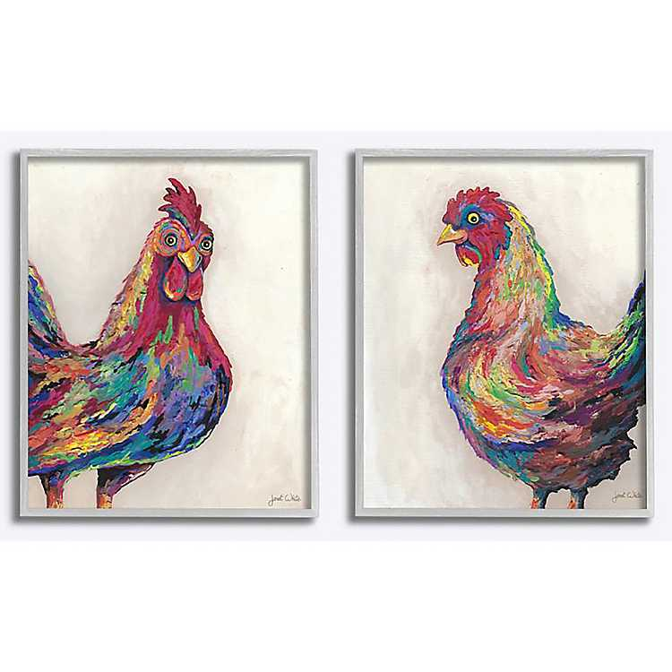 Multicolored Rooster Framed Art Prints