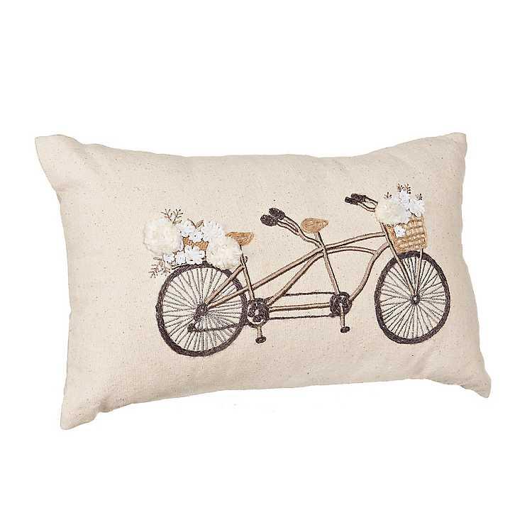 Linen Canvas Embroidered Bike Accent Pillow Kirklands
