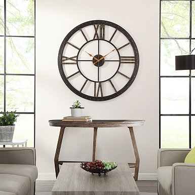 Golden Open Face Industrial Wall Clock Kirklands