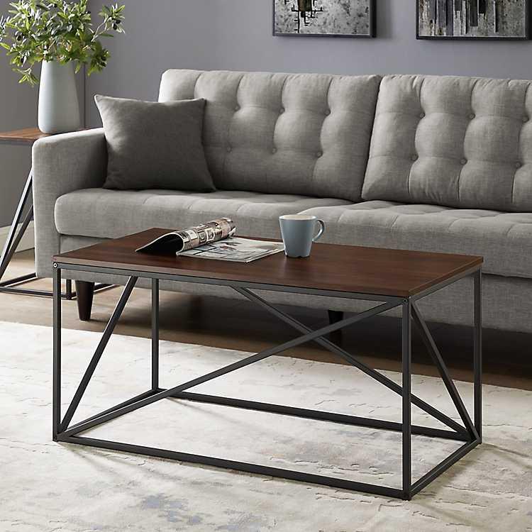 Walnut Geometric Modern Coffee Table Kirklands
