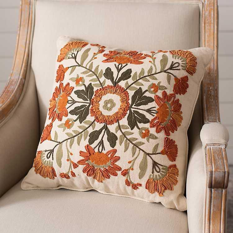 Embroidered Floral Kaysari Pillow Kirklands