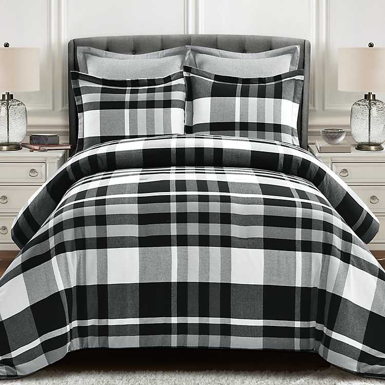 Black and White Plaid 5 pc. King Comforter Set | Kirklands