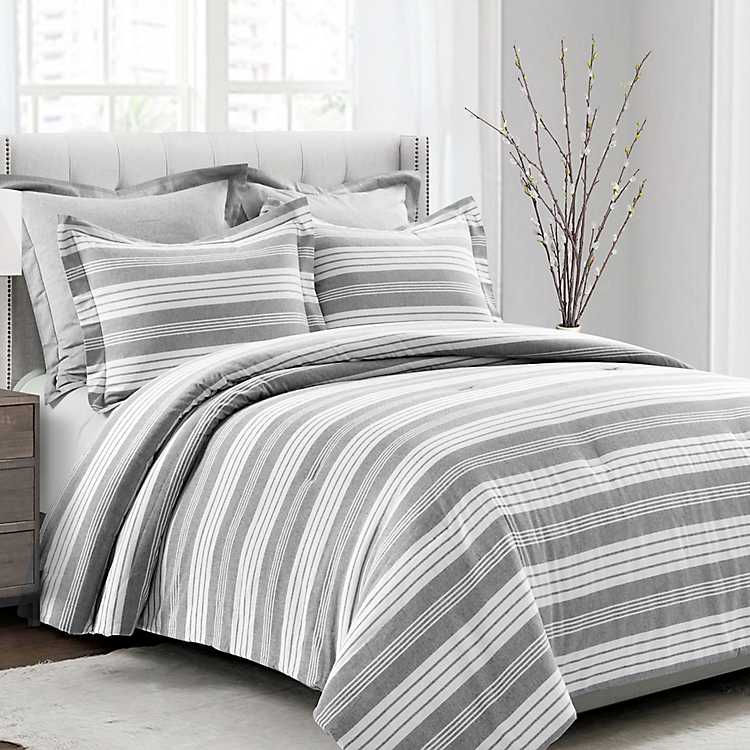 Gray and White Stripe 5 pc. King Comforter Set | Kirklands