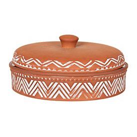 Zig Zag Terra Cotta Tortilla Warmer
