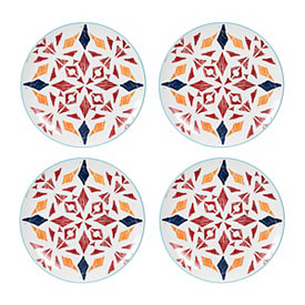 Caliente Red Salad Plates, Set of 4