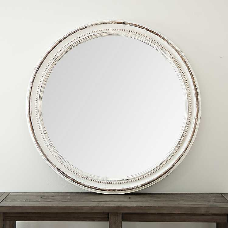 Distressed White And Natural Wooden Round Mirror Kirklands
