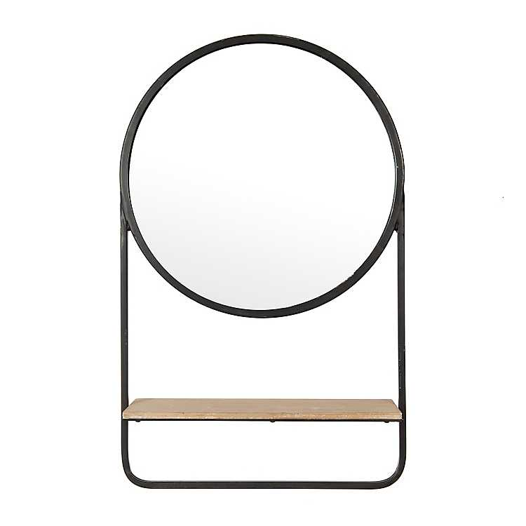 Wood And Metal Round Wall Mirror With Shelf Kirklands