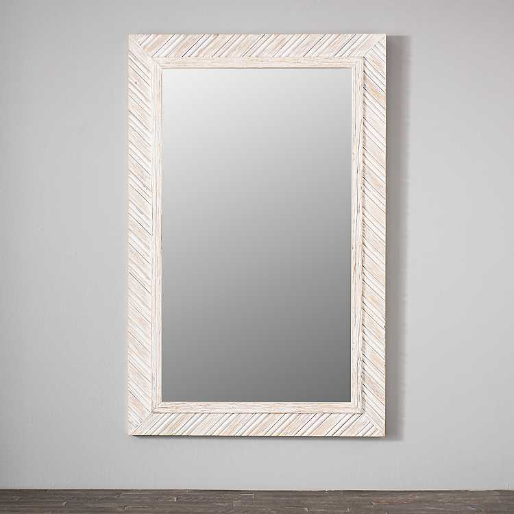 Distressed White Wooden Weaving Mirror, Carved Wood Mirror Target