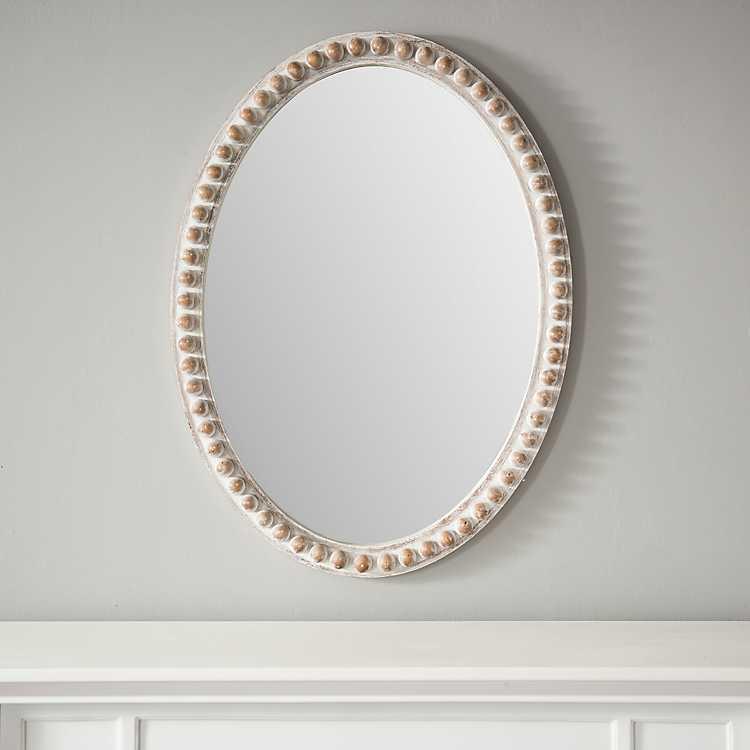 Natural Wood Beaded Frame Oval Mirror Kirklands
