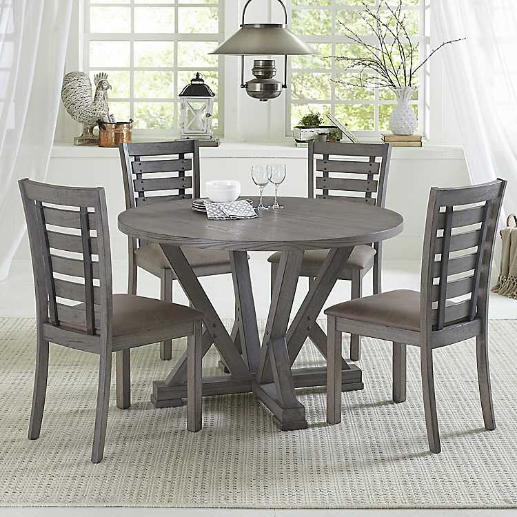 Gray Wooden Fiji Round Dining Table
