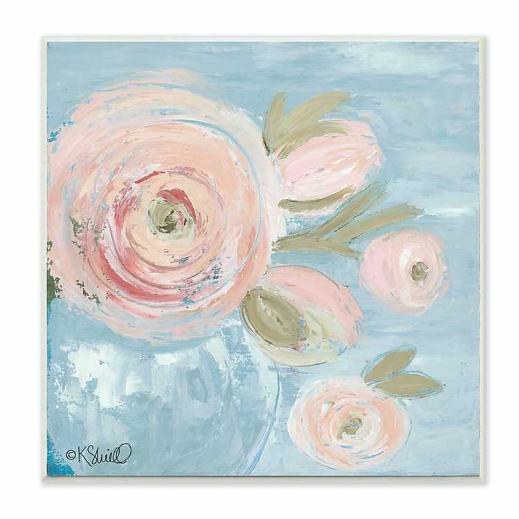 Pink Flowers On Blue Framed Art Print Kirklands