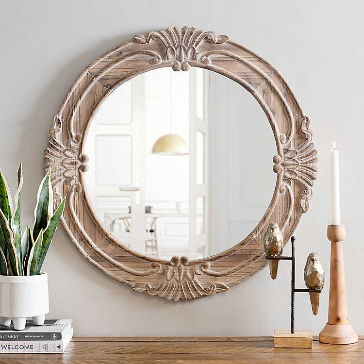 Natural Carved Wood Round Mirror, Carved Wood 35 Round Mirror