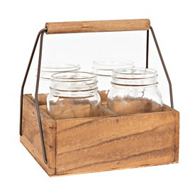 Natural Wooden Utensil Caddy with Mason Jars