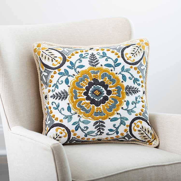 Yellow And Gray Embroidered Claudia Pillow Kirklands