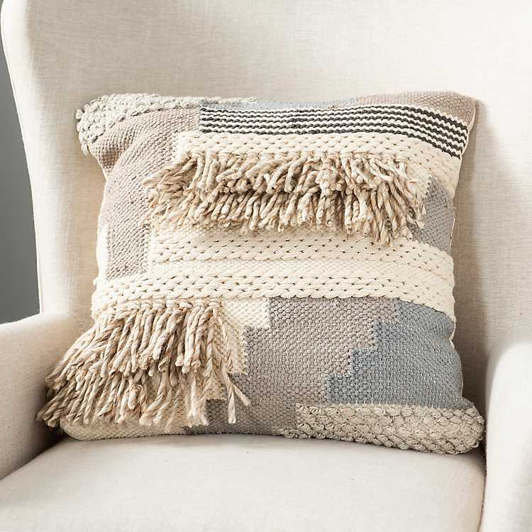 Neutral Woven Loops And Fringe Pillow Kirklands