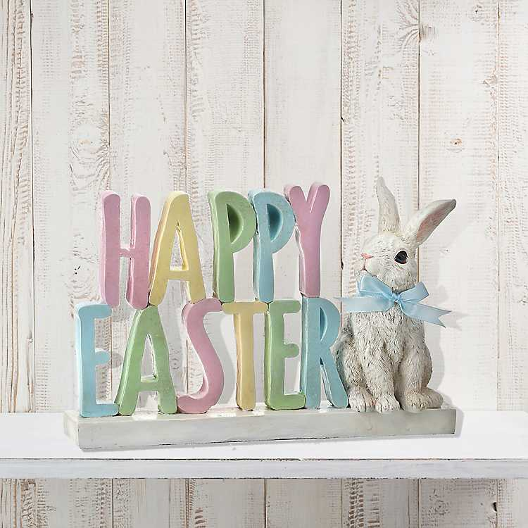 Easter Hippity Bunny Holiday Sign Bunny Rabbit Classroom Desk Mantle Decor Party Decoration or Table Topper Party Supply