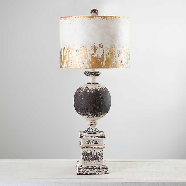 Distressed Round Black Metal Table Lamp, Metal Table Lamps