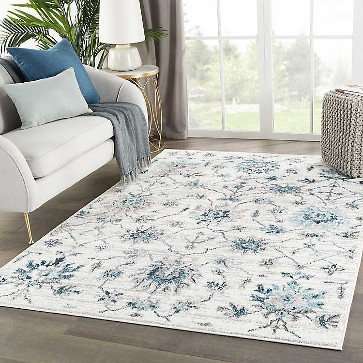 White And Teal Alizeh Area Rug 5x8 Kirklands