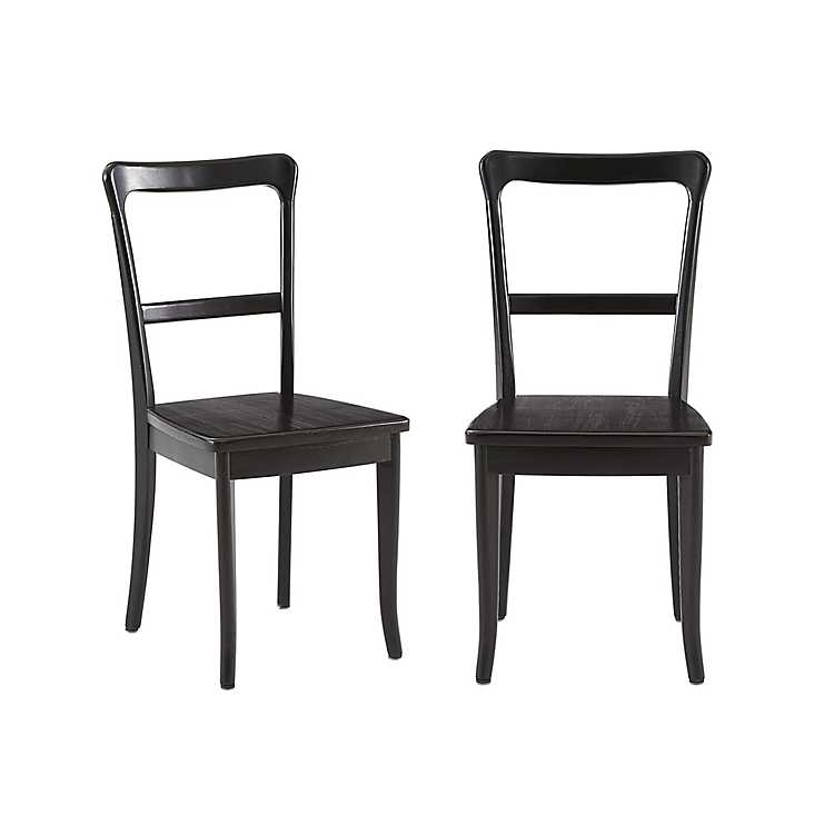 Black Wooden Vintage Dining Chairs Set Of 2 Kirklands