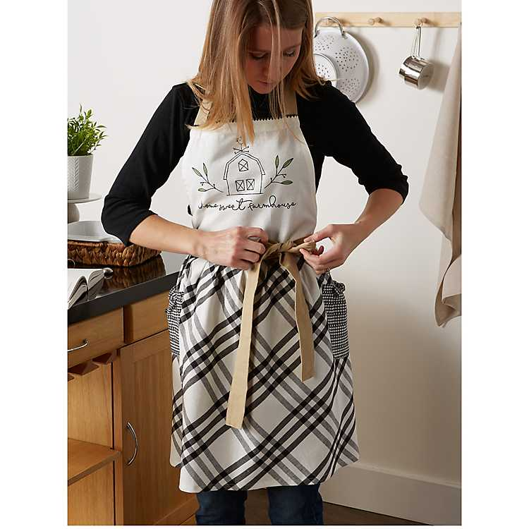 Black And White Plaid Home Sweet Farmhouse Apron Kirklands