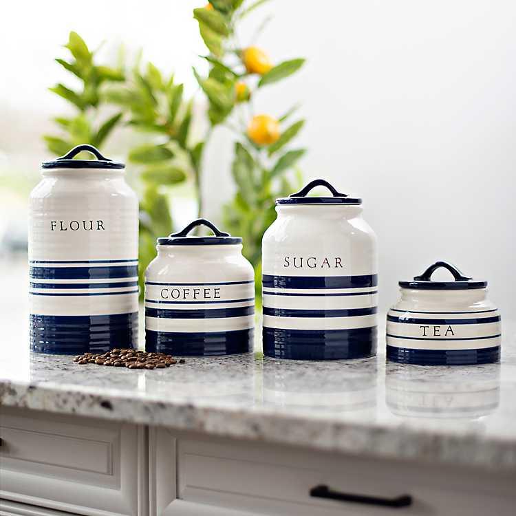 Blue Stripe Ceramic Canisters Set Of 4 Kirklands