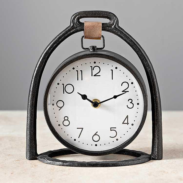 Black Industrial Tabletop Clock Kirklands