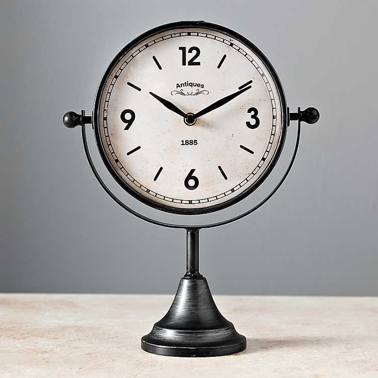 Black Sleek Tabletop Clock Kirklands