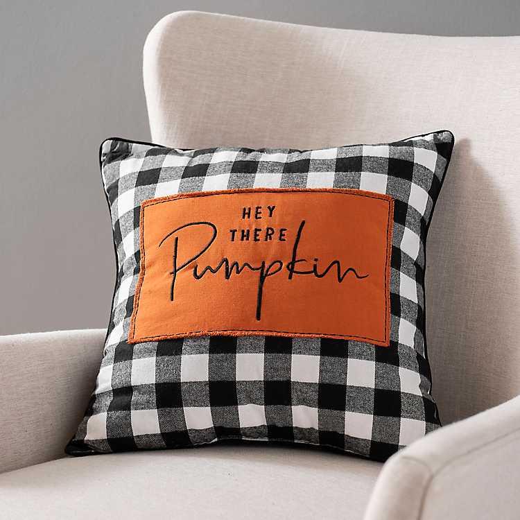 Hey There Pumpkin Buffalo Check Pillow Kirklands