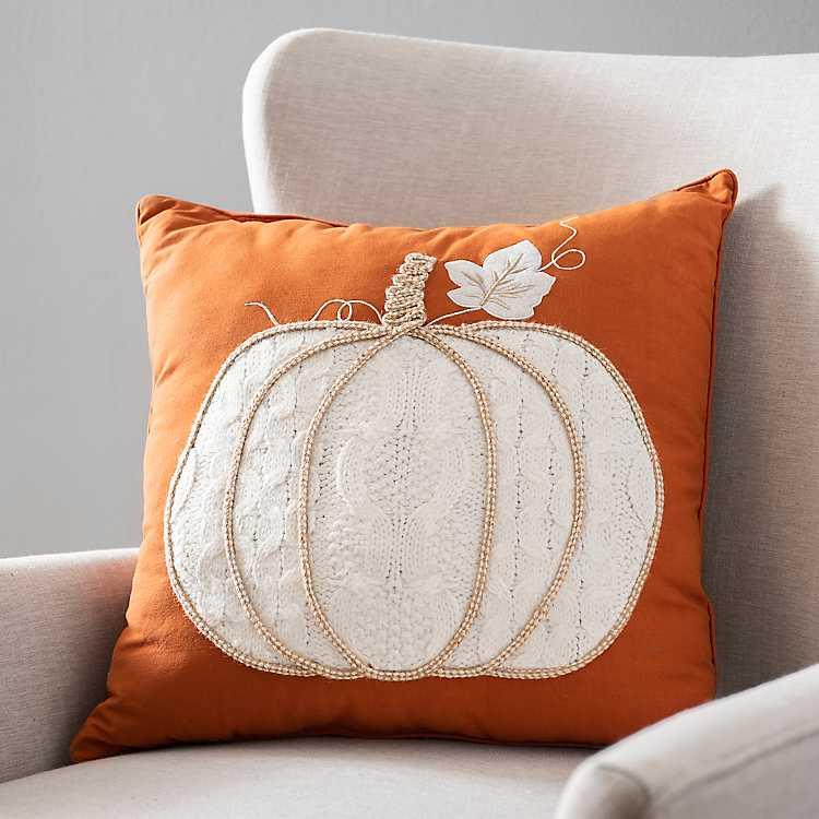 White Knit Pumpkin Pillow Kirklands