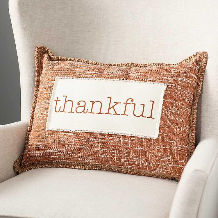 Orange Thankful Pillow Kirklands