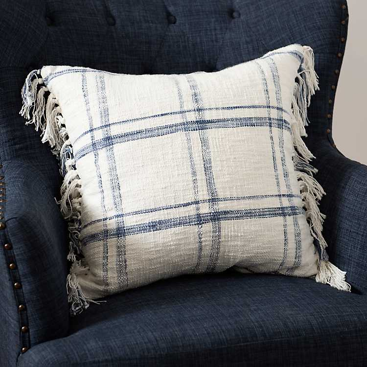 Blue And White Open Plaid Tassel Pillow 22 In Kirklands
