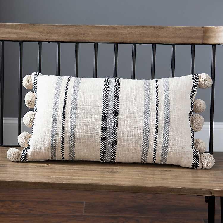 Blue Hand Woven Stripes Accent Pillow Kirklands