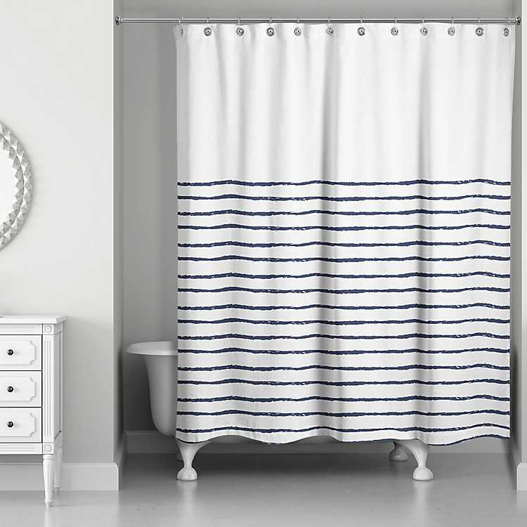 Blue Colorblock Striped Shower Curtain, Grey Striped Shower Curtain
