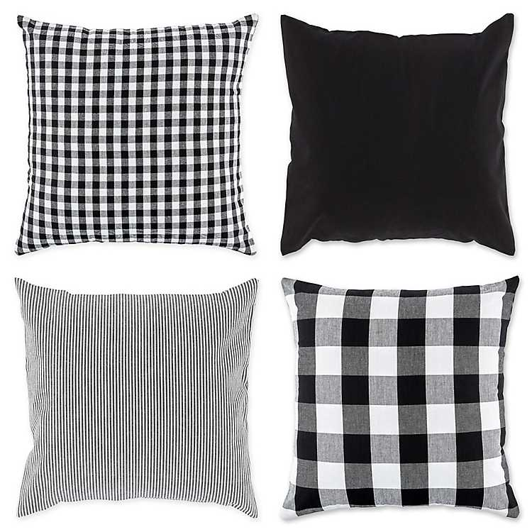 Black And White Check Pillow Covers Set Of 4 Kirklands