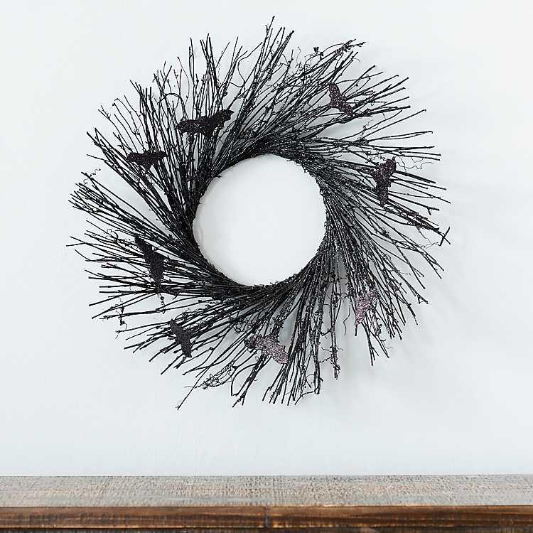 black bat wreath halloween decor