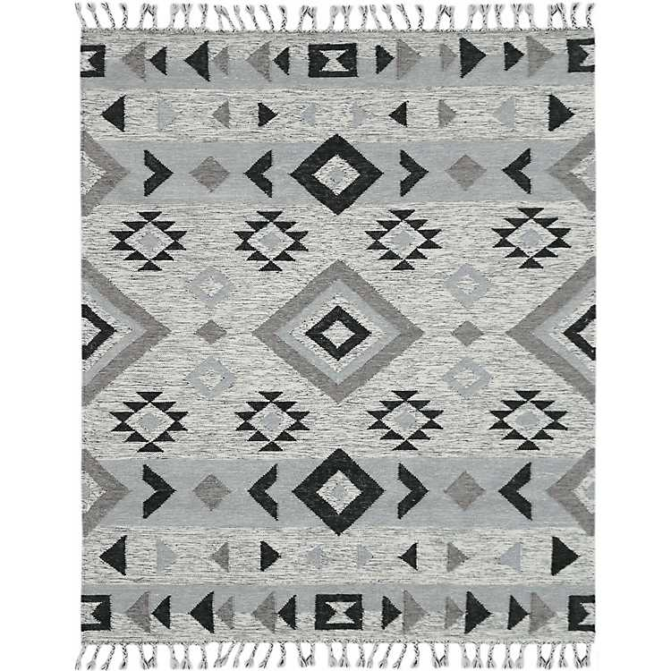 Silver And Gray Wool Artifacts Area Rug 5x8 Kirklands