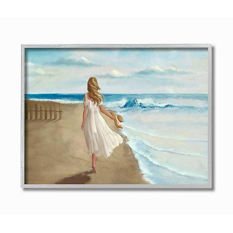 Walk On The Beach Framed Canvas Art Print Kirklands