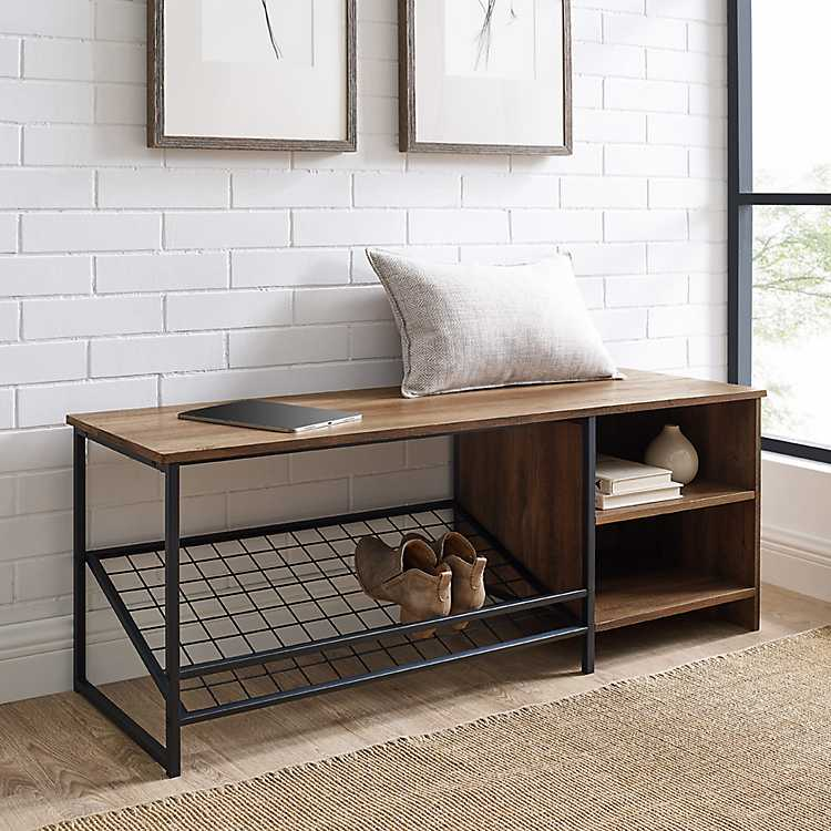 Rustic Oak Shoe Storage Entryway Bench, Bench With Shoe Storage