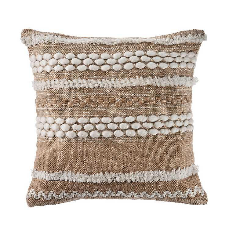 Neutral Embroidered Accent Pillow