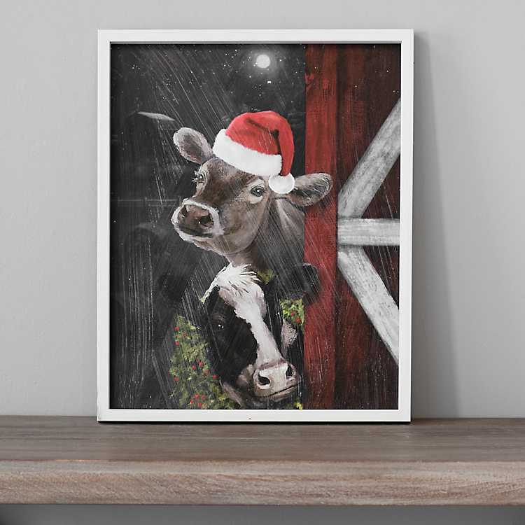 Christmas Cows In Barn Door Framed Art Print Kirklands