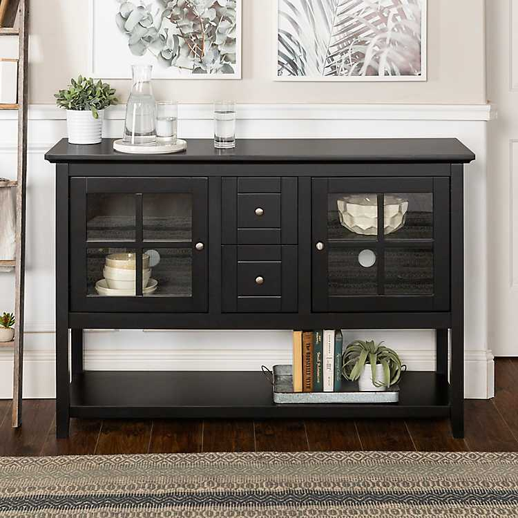Black Wood And Glass Buffet Cabinet, Black Living Room Cabinet
