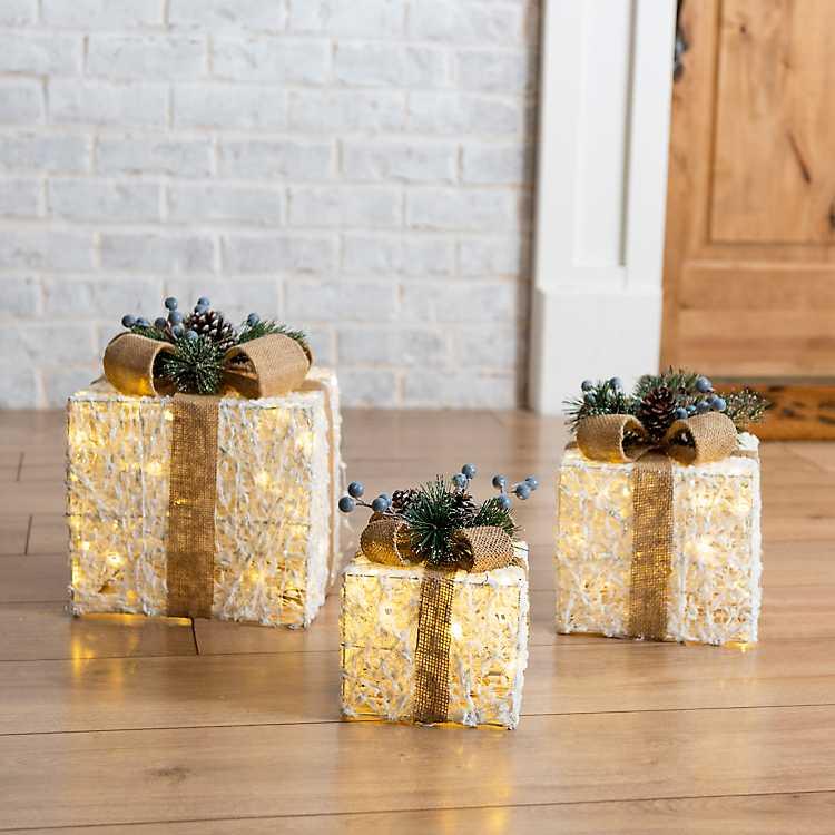 White Pre Lit Gift Boxes Set Of 3 Kirklands