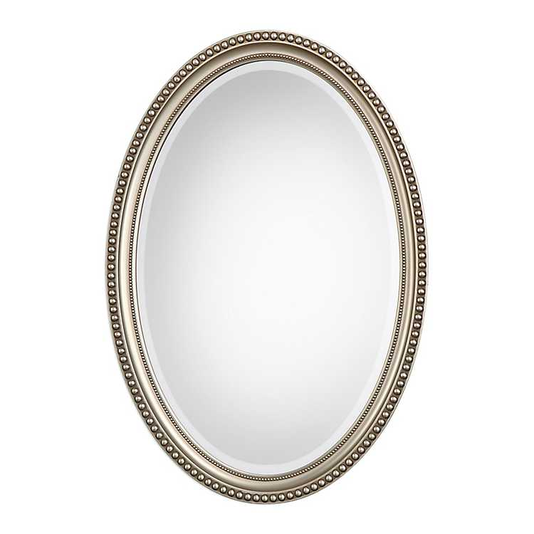 Metallic Silver Beaded Edge Oval Mirror, Oval Silver Beaded Mirror