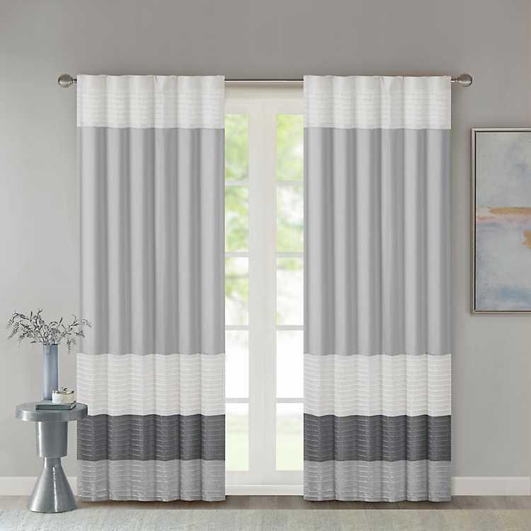 Gray Color Block Striped Curtain Panel