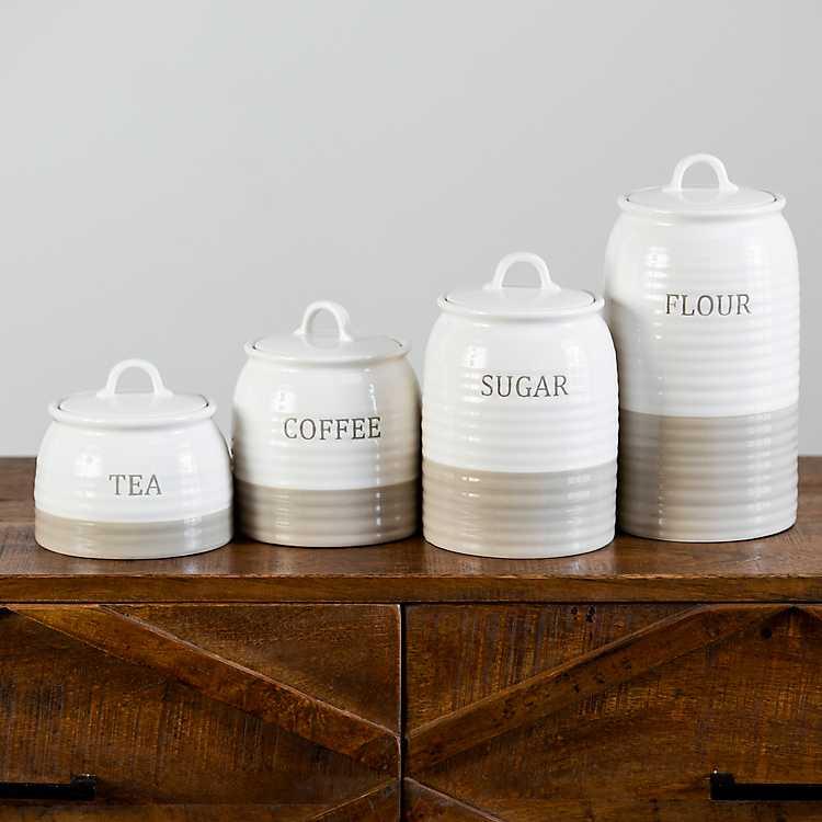 Cream Ceramic Simple Things Canisters Set Of 4 Kirklands
