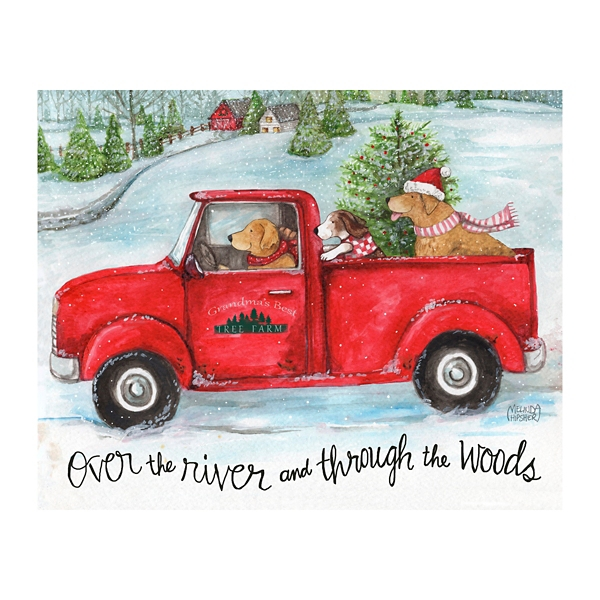 Vintage Red Truck With Dogs Canvas Art Print Kirklands