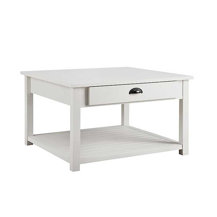 Brushed White Square Coffee Table Kirklands