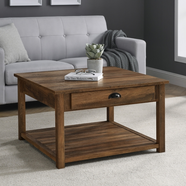 Rustic Oak Square Coffee Table Kirklands