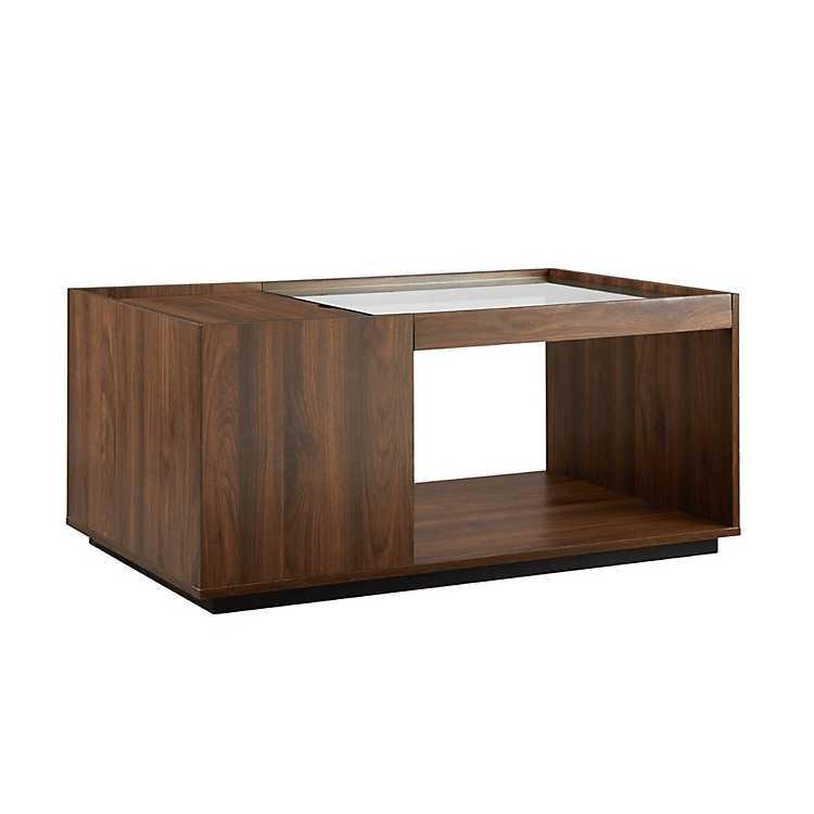 Dark Walnut Open Space Glass Top Coffee Table Kirklands