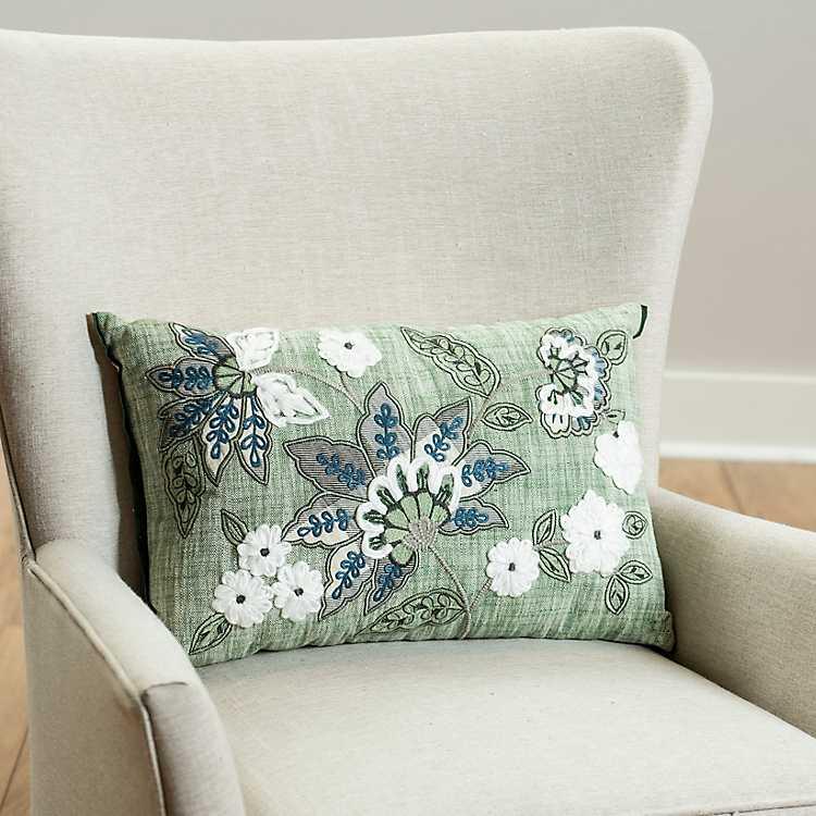Green Jacobean Embroidered Lumbar Pillow Kirklands